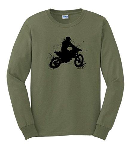 Motocross Mud Splatter Long Sleeve T-Shirt XL Military Green