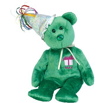 TY Beanie Baby - MAY the Teddy Birthday Bear (w/ hat)