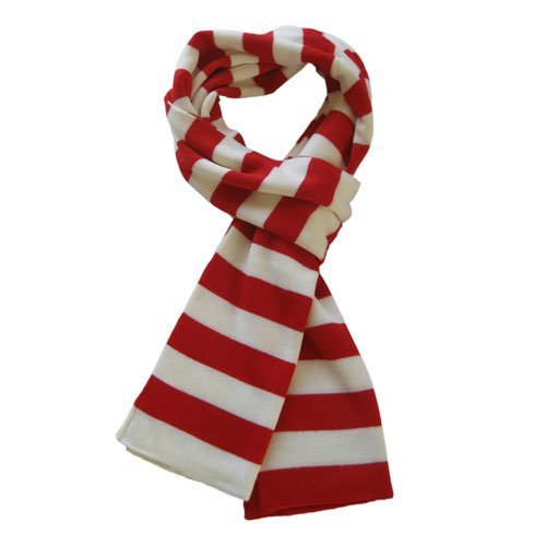 Soft Knit Striped Scarf - Red & White