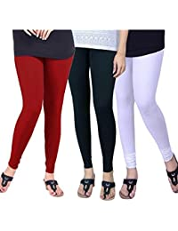 BONITO Women's Pack Of 3 Cotton Churidar Leggings