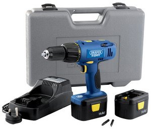 Draper Expert 41407 14.4-Volt Cordless Combination Drill with 2 Batteries
