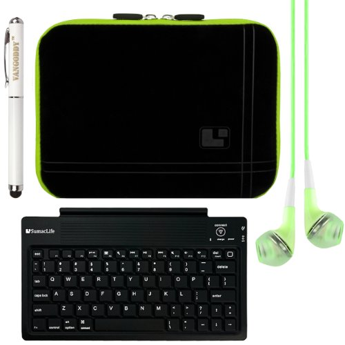 Sumaclife Micro Suede Sleeve Cover For Lg G Pad 8.3 Android Tablet + Sumaclife Wireless Bluetooth Keyboard + Vg Executive Stylus Pen & Laser Pointer + Green Vangoddy Headphones (Green Trim)