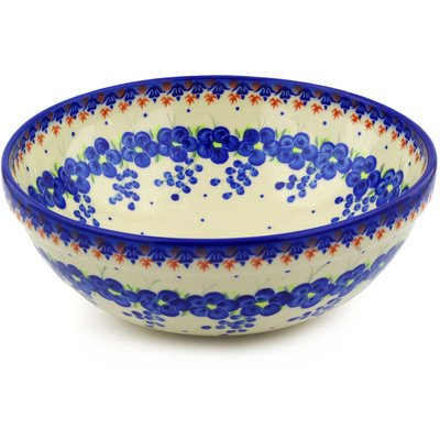 Polmedia Polish Pottery 11-Inch Stoneware Bowl H5300F Hand Painted From Cer-Maz In Boleslawiec Poland. Shape S207C(024) Pattern P5980A(D52U) Unikat