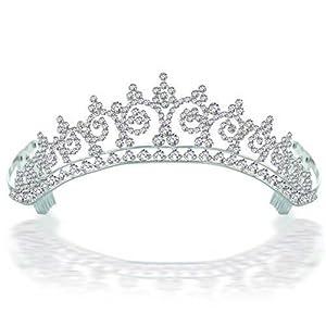 Bling Jewelry Royal Wedding Inspired Halo Rhinestone Tiara Silver Plated