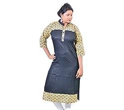 Glimmerra Women's Rayon Kurti (Kurti012Sbl_Black_40)
