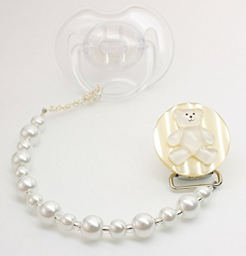 Baby White Teddy Bear Pacifier Clip - 1
