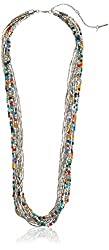 Kenneth Cole New York Mixed Multi-Color Bead Row Long Necklace
