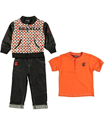 Rocawear Classic Infant Boys Black & Orange 3pc Pant Set (18M)
