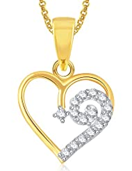Meenaz Gold Plated Heart Pendant With Chain For Girls And Women PS377