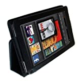 Executive Multi Function Leather Case Cover For Amazon Kindle FIRE (not for HD version) and Flip Stand Wallet With FREE Capacitive Stylus Pen and Screen Protector (Black)by GadgetinBox™