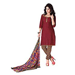 Banorani Womens Poly Cotton Unstitched Salwar Suit Dress Material (Gp-1042 _Dark Red _Free Size)