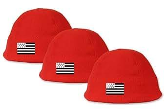 Lot de 3 bonnets rouges polaires - Brodé drapeau Breton - Lot n°1