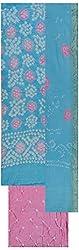 MS Bandhani Women's Cotton Silk Unstitched Dress Material (MSB_8-A, Sky Blue)