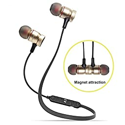 Bluetooth Earbuds, Magnet Attraction V4.0 Wireless Bluetooth Headset In-Ear Noise Reduction Headphones with Microphone for Running & Sports, Sweatproof Bluetooth Earphones for iPhone 6S (Golden)