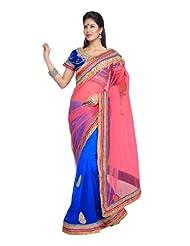 Fabdeal Indian Bollywood Designer Light Pink Net Embroidered Saree-QAISR407ASL