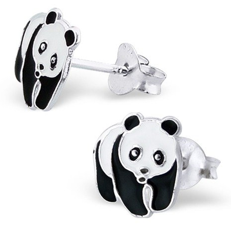 Pair of Small Black and White Panda Bear Sterling Silver Stud Earrings (0.9cm x 0.8cm) Supplied in Gift Box - Stocking Fillers