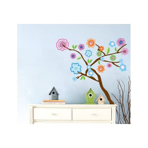 Kids tree vinyl wall decal with flowers and leaves