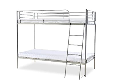 Humza Amani Torquay Metal Bunk Bed Frame with 2 Economy Mattress Set, Single, 3 ft, 160 x 198 x 128 cm, Silver
