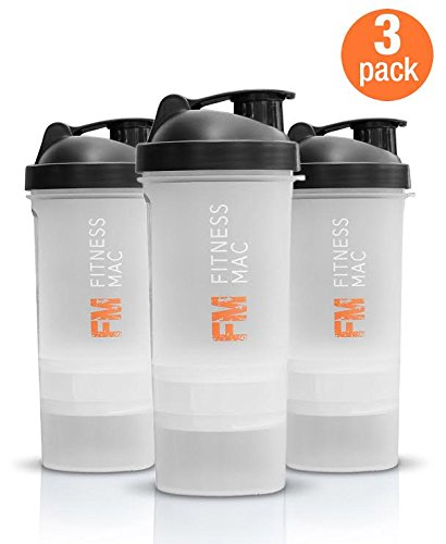 3-Pack (Transparent/Black) Tri-Layered 22 oz Protein Shaker Cups with Twist n' Lock Vitamin and Protein Containers by Fitness Mac