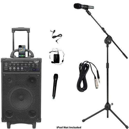Pyle Mic And Speaker Package - Pwma1090Ui 800 Watt Dual Channel Wireless Rechargeable Portable Pa System With Ipod/Iphone Dock, Fm Radio Channels / Usb Flash Drive Stick / Sd, Sdhc Memory Card, Handheld Microphone, And Lavalier Microphone - Pmksm20 Microp