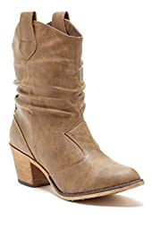 Charles Albert Women\'s Modern Western Cowboy Distressed Boot with Pull-Up Tabs in Mocha Size: 8