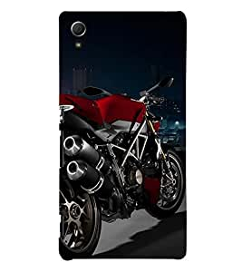 RED COLOUR RACING BIKE ON DISPLAY 3D Hard Polycarbonate Designer Back Case Cover for Sony Xperia Z3+ :: Sony Xperia Z3 Plus