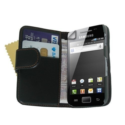 Black PU Leather Wallet Vertical Case for Samsung GT-S7500 Galaxy Ace Plus - High Quality Flip Phone Cover + 2 Screen Protectors (Samsung Ace Plus Cover compare prices)