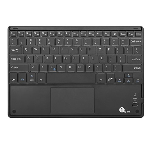1byone Ultra-Slim Wireless Bluetooth Keyboard with Built-in Multi-touch Touchpad and Rechargeable Battery for Android and Windows, Black (Keyboard Touchpad Full Size compare prices)