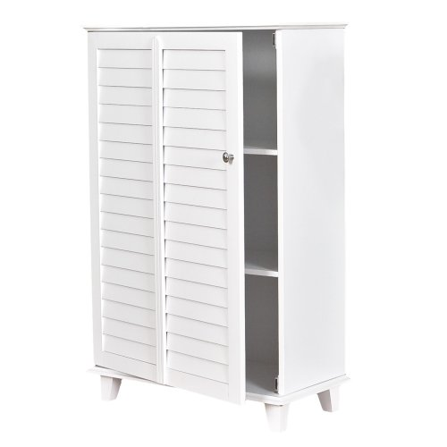 Nassau Louvered White Towel Cabinet (SHOP BY DEPARTMENT / Bed Bath