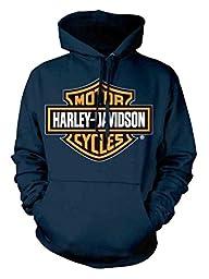 Harley-Davidson Men\'s Orange Bar & Shield Navy Pullover Sweatshirt 30291742 (L)