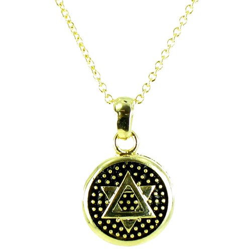 Black On Gold Plated Small Round Star Of David Symbol Necklace front-757393