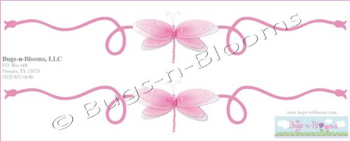 Pink Dragonfly Scroll Wall Mural Vinyl Stickers. Sticker Decals For Children'S, Nursery & Baby'S Room Decor, Baby Walls, Girls Bedroom Decorations. Dragonflies Decal Child'S Murals Birthday Party Baby Shower Decoration Scrolls front-27201