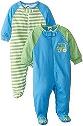 Gerber Baby-Boys Newborn Zip-Front Sleep N' Play Baseball Bodysuit Two-Pack