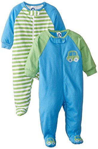 Gerber Baby Boys' 2 Pack Zip Front Sleep 'N Play, Cars, 0-3 Months