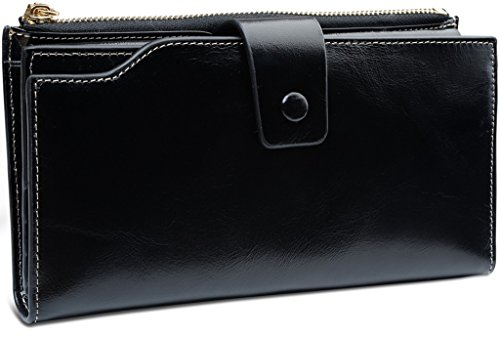Yaluxe Women's Large Capacity Luxury Wax Genuine Leather Wallet With Zipper Pocket (Gift Box) Black-2