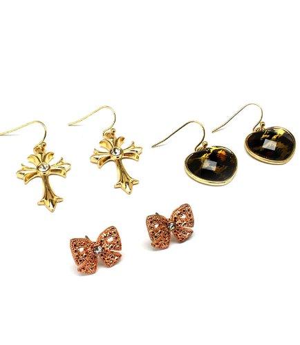 3-Pc. Earring Set: Goldtone Crosses,Copper Bows,Epoxy Leopard Hearts;Gift Set