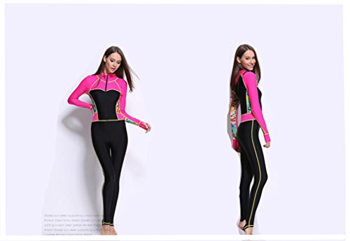 [AZSHARAA ms. conjoined swimsuit hooded wetsuit Surf served swimsuit swimming training (printing, M)] (Full Body Costumes Sydney)