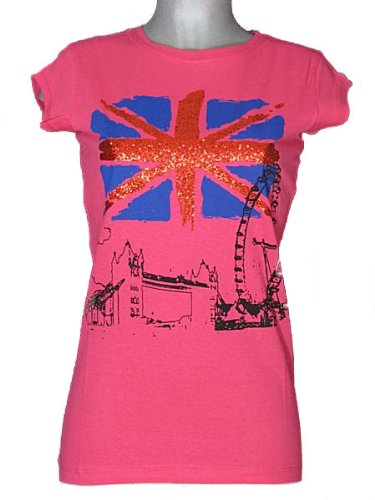 Womens Union Jack Flag T Shirts Ladies Glitter Tops Great Britain Bling T Shirts (M, Pink)