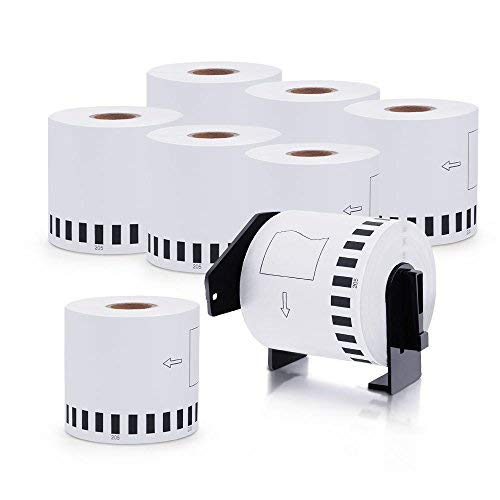 DK-2205 8 Rolls Brother-Compatible White Continuous Paper Labels 2.4in x 100ft with One Refillable Cartridge for QL 500 550 570 700 710W RQL710W 720NW 800 810W 1060N Printer etc. (Color: 8 Roll (62mm X 30.48m), Tamaño: DK-2205 (Continuous))