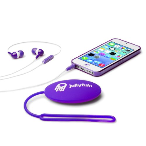 Jellyfish Starter Set With Case/Headset/Storage Case And Home Button Stickers For Iphone 5 - Retail Packaging - Precious Purple