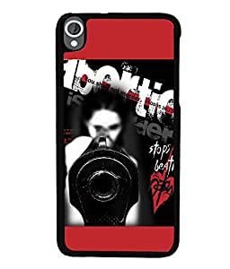 Fuson Premium Don`T Abort Metal Printed with Hard Plastic Back Case Cover for HTC Desire 820