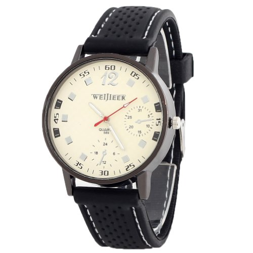 2013Newestseller Unisex Sport Big Numbers Rubber Band Watches Black Band White Dial