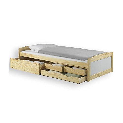 Lit fonctionnel avec rangements ANDREA, 90 x 200 cm pin massif vernis naturel et lasuré blanc