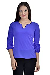 Femninora Blue Color Casual Top With Black Neck Piping