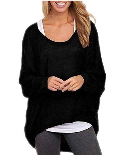 ZANZEA Donna Maglia a Manica Lunga Cardigan Asimmetrico Camicia Pullover Camicetta Superiore Nero IT 46-48/ASIA XL