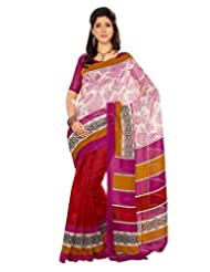 Inddus Exclusive Women Fashionable Contemporary Stylish Red Printed Bhagal Puri Silk Saree