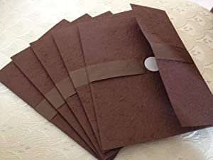 Japanese Style Hand Made Invitation Envelop A7 Size Brown (50 Pcs)