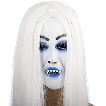 Latex Creepy Scary Emulsion Vampire White Hair Horror Pull-over Mask for Halloween