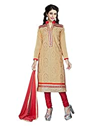 Modern lifestyle Embroidery work Festive Wear Cotton Beige Un Stitched Branded Salwar Suit Dress Material for women girls ladies From Lookslady