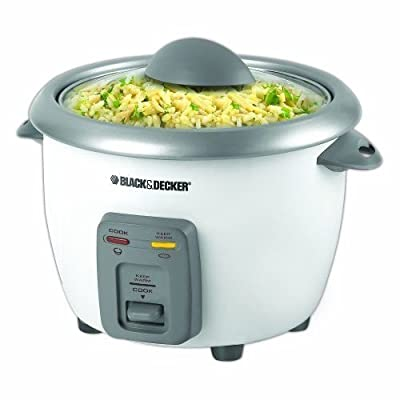 Black + Decker RC3406 3-Cup Dry/6-Cup Cooked Rice Cooker White New
